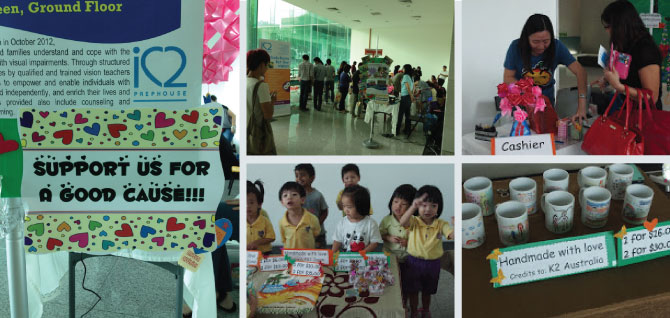 Passionate and charitable staff and young children of Cherie Hearts organised a charity sale at StarHub Green to raise funds for the children and youth with visual impairments