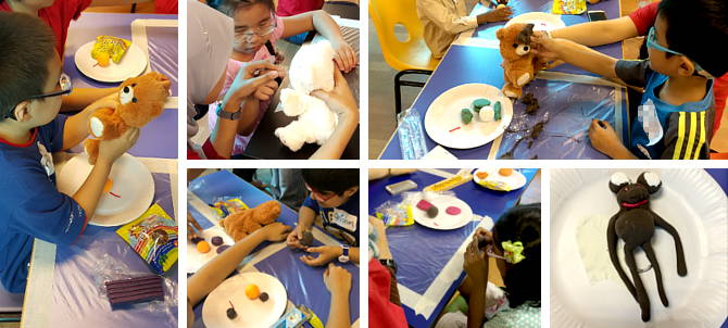 Our students having fun making model bear out of plasticine.
