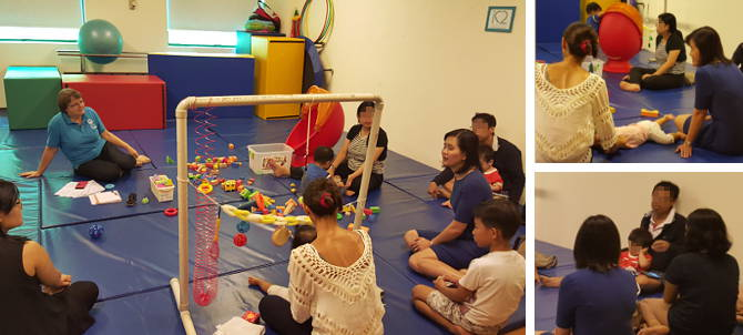 Adj A/Prof Audrey Looi casually chatting with parents during a Parents Support Group session.