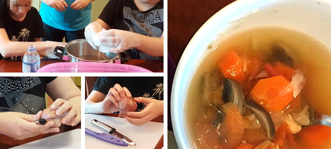 With guidance from our teachers, our teens experienced the process of making vegetable soup. Beside being taught on how to cut the carrots, onions and mushrooms carefully with a knife, they get to feel the different textures, smell and shapes of the ingredients.