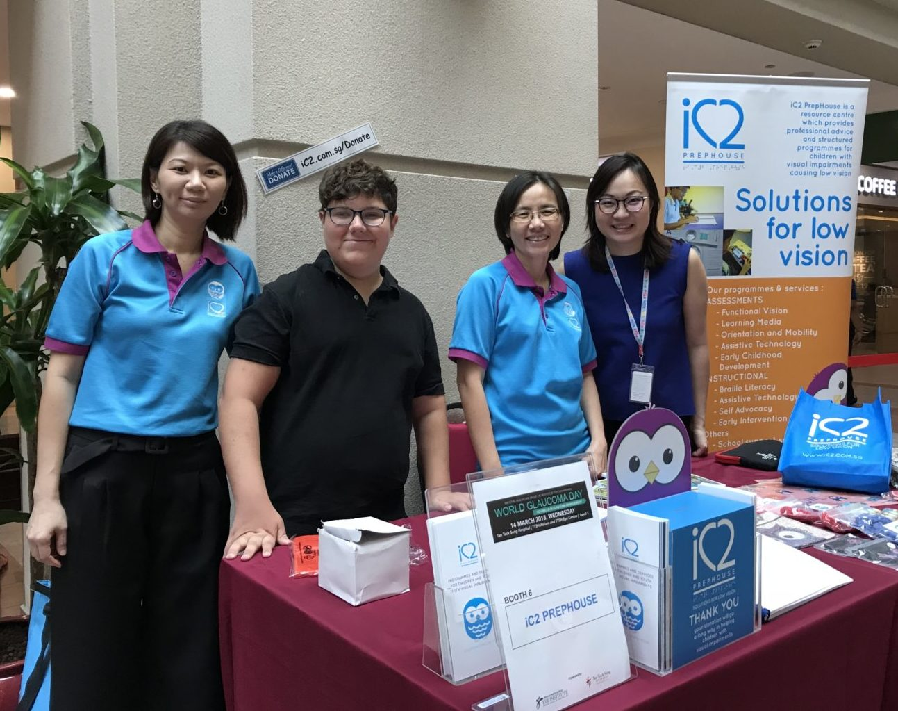 Dr Audrey Pang, a Consultant Ophthalmologist with the National Healthcare Group Eye Institute at Tan Tock Seng Hospital visiting iC2 booth to better understand the services provided