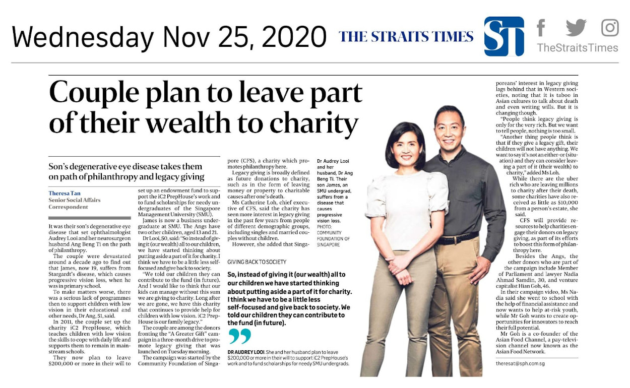 Couple plan to leave part of their wealth to charity.