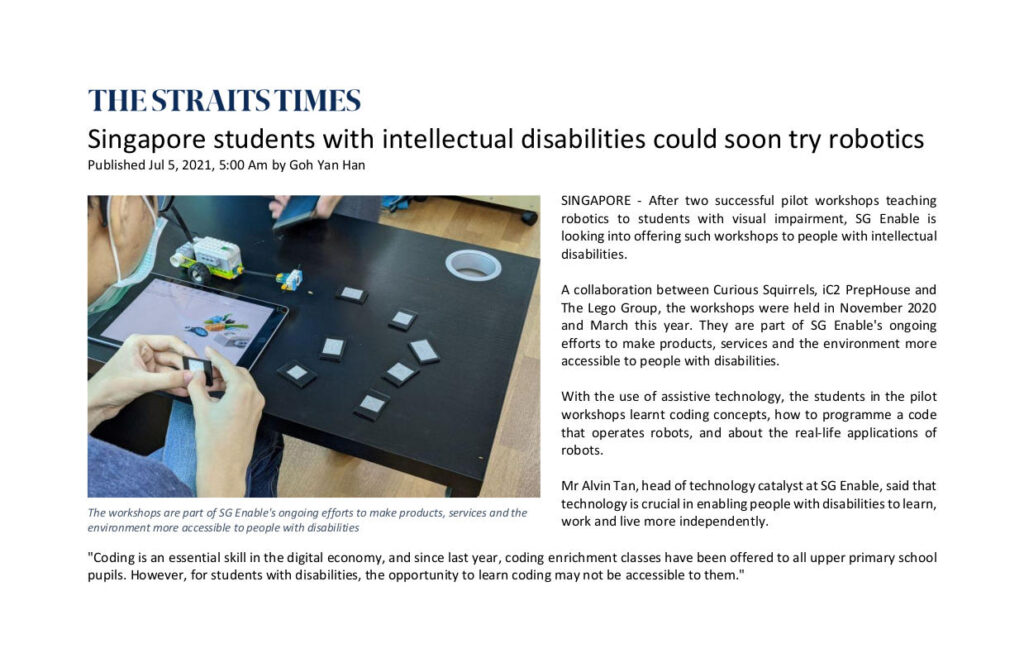 Singapore students with intellectual disabilities could soon try robotics
